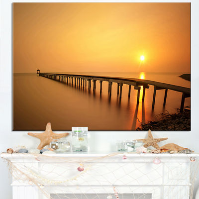 Designart Old Wooden Pier Long To Evening Sea Canvas Art