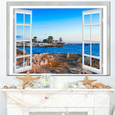 Designart Open Window To Blue Seashore Canvas Art