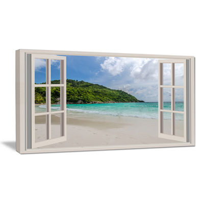 Designart Open Window To Calm Seashore Canvas Art