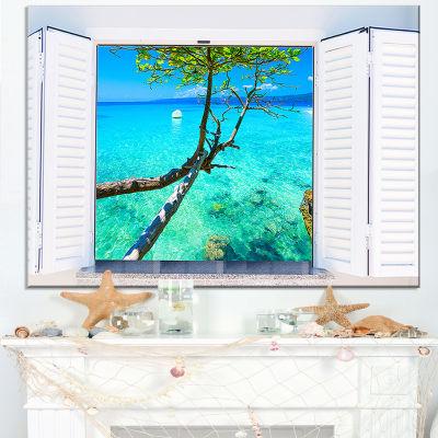 Designart Open Window To Gorgeous Seashore Canvas Art