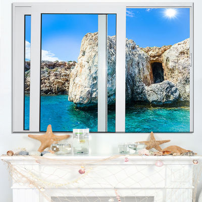 Designart Open Window To Rocky Sunny Ocean Canvas Art