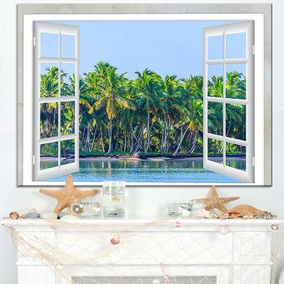 Designart Open Window To Seashore Palms Canvas Art