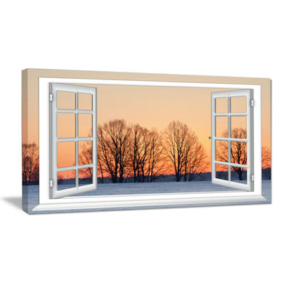 Designart Open Window To Snowy Sunset Canvas Art