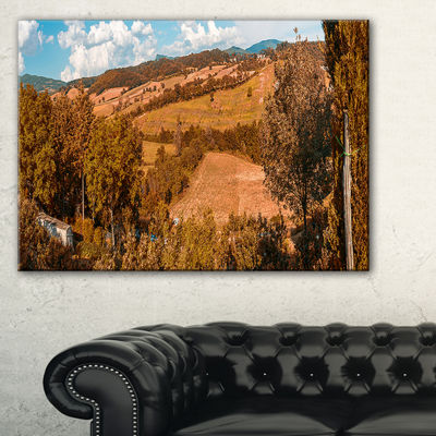 Designart Orange Autumn Mountains Tuscany Canvas Art