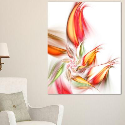 Designart Orange Pink Fractal Floral Shapes Canvas Art