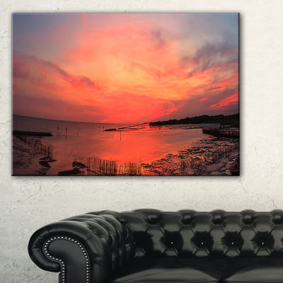 Designart Outstanding Panorama Of Sunset In Sea Canvas Art