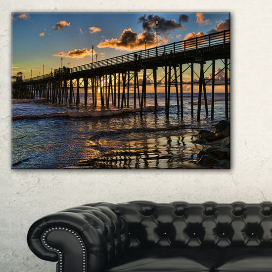 Designart Pacific Ocean Sunset Oceanside Pier Canvas Art