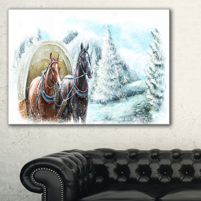 Designart Painted Scene With Horses In Winter Canvas Art