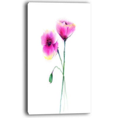 Designart Pair Of Large Purple Poppy Flowers Canvas Art