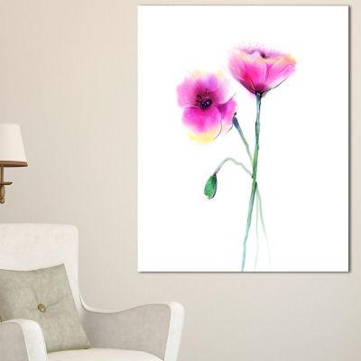 Designart Pair Of Large Purple Poppy Flowers Canvas Art