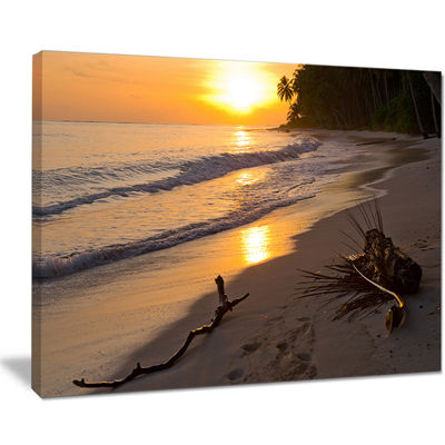 Designart Palm Trees On Background At Sunset Canvas Art