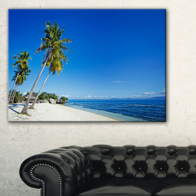 Designart Palms Bent To Beautiful Vacation Beach Canvas Art