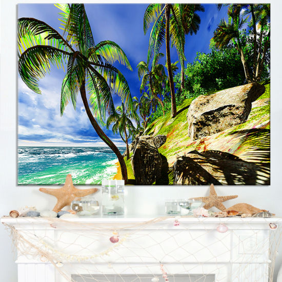 Designart Palms In Hawaii Island Beach Canvas Art