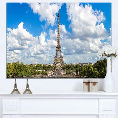 Designart Panoramic Paris Paris Eiffel Towerunder Clouds Canvas Art