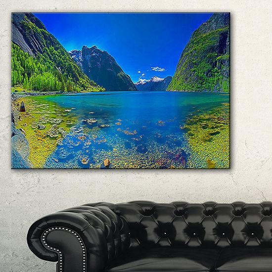 Designart Panoramic View Of Norwegian Fjord Canvas Art