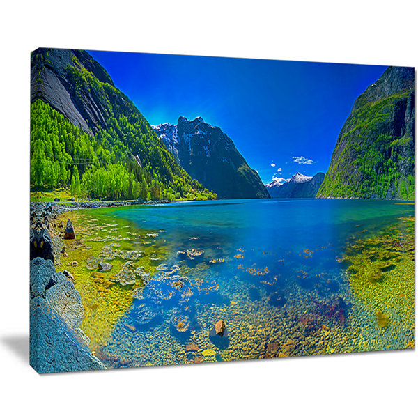 Designart Panoramic View Of Norwegian Fjord Canvas Art