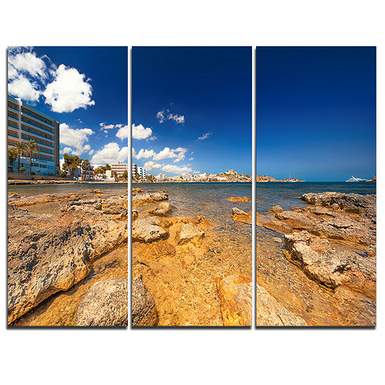 Designart Paradise Beach In Ibiza Island 3-pc. Canvas Art
