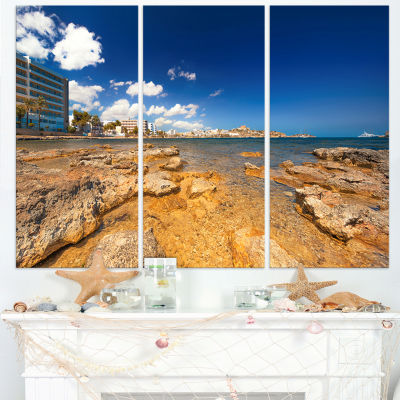 Designart Paradise Beach In Ibiza Island 3-pc. Canvas Art