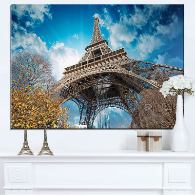 Designart Paris Paris Eiffel Towerand Blue Paris Sky View Canvas Art
