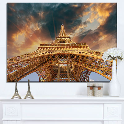 Designart Paris Paris Eiffel Towerin Paris With Sunset Colors Canvas Art