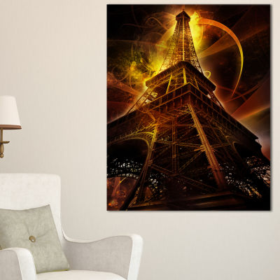 Designart Paris Paris Eiffel Toweron Fantasy Background Canvas Art