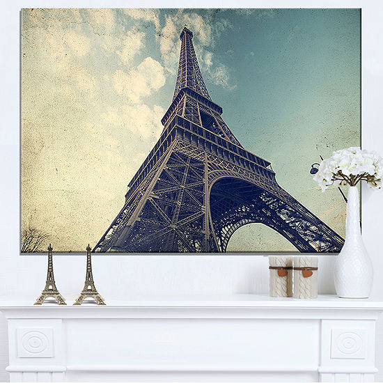 Designart Paris Paris Eiffel Towervintage View From Ground Canvas Art
