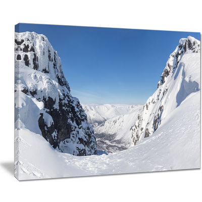 Designart Pass In The Northern Winter Hills Canvas Art