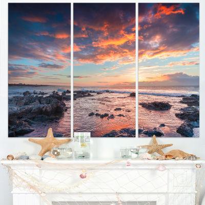 Designart Passero Cape Spring Sunrise 3-pc. Canvas Art