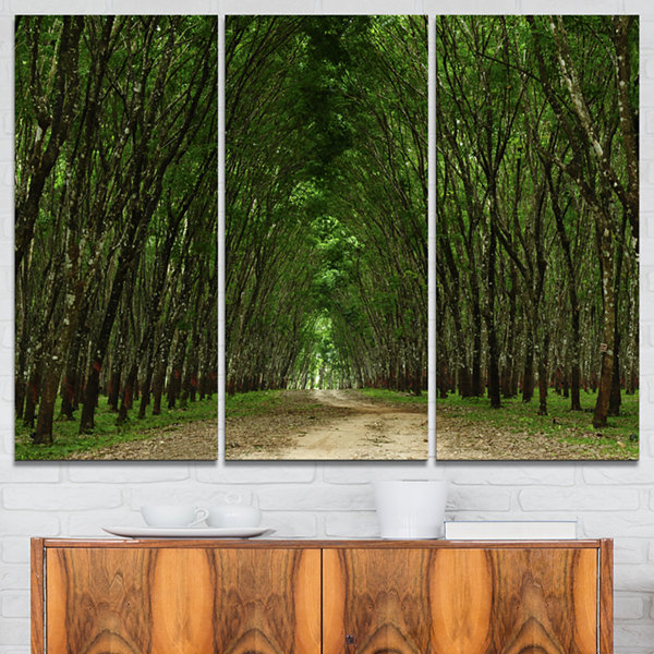 Designart Pathway In Thick Green Forest 3-pc. Canvas Art