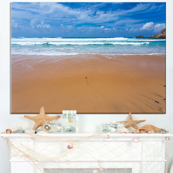 Designart Peaceful Atlantic Seashore Portugal Canvas Art