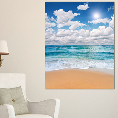 Designart Peaceful Seashore Under White Clouds Canvas Art