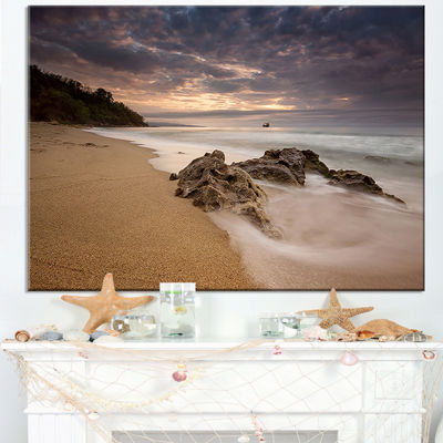 Designart Peaceful Seashore With White Waves Canvas Art