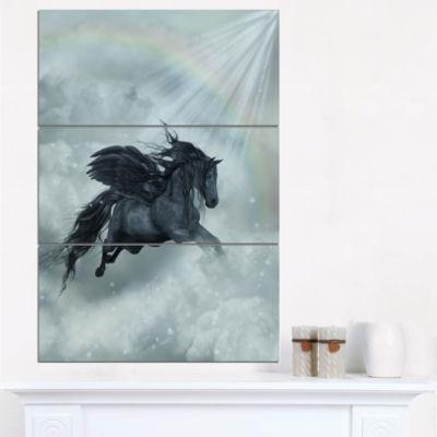 Designart Pegasus In The Heaven 3-pc. Canvas Art