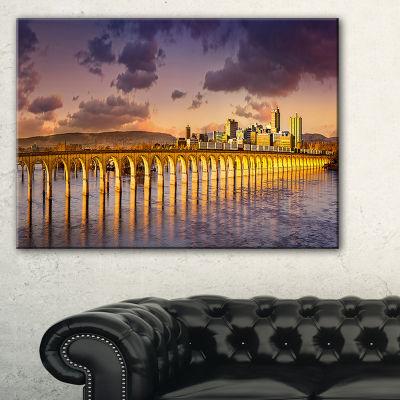 Designart Pennsylvania Railroad Bridge Skyline Canvas Art