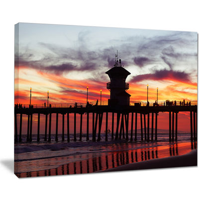 Designart Pier California At Sunset With Clouds Canvas Art