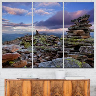 Designart Piled Stones In Summer Mountains 3-pc. Canvas Art