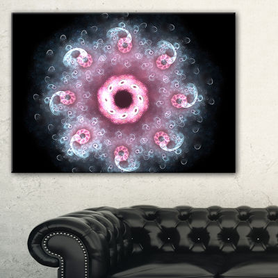 Designart Pink Abstract Fractal Mandala Flower Canvas Art