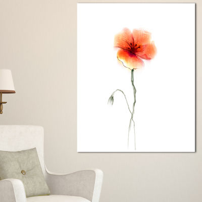 Designart Large Pink And Red Poppy Flower Canvas Art