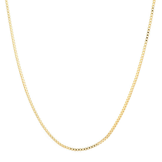 Silver Reflections 24K Gold Over Brass 18 Inch Box Chain Necklace