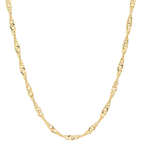 Silver Reflections 24K Gold Over Brass 18 Inch Chain Necklace