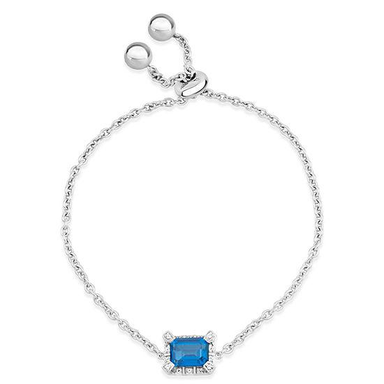 Sterling Silver Blue and White Genuine Topaz Bolo Bracelet featuring Swarovski Genuine Gemstones