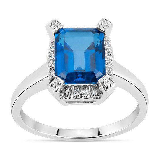 Sterling Silver Blue and White Genuine Topaz Ring featuring Swarovski Genuine Gemstones