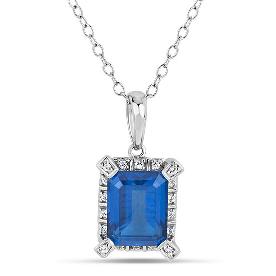 Sterling Silver Blue and White Genuine Topaz Pendant Necklace featuring Swarovski Genuine Gemstones