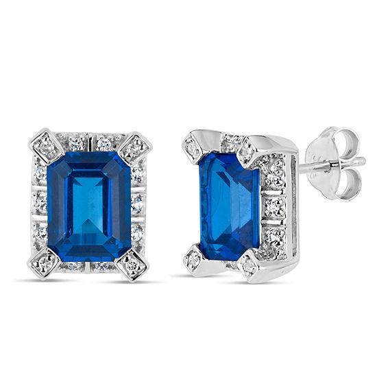 Sterling Silver Blue and White Genuine Topaz  featuring Swarovski Genuine Gemstones Stud Earrings