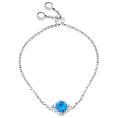 Sterling Silver Blue and White Genuine Topaz Bolo Bracelet featuring Swarovski Genuine Gemstones