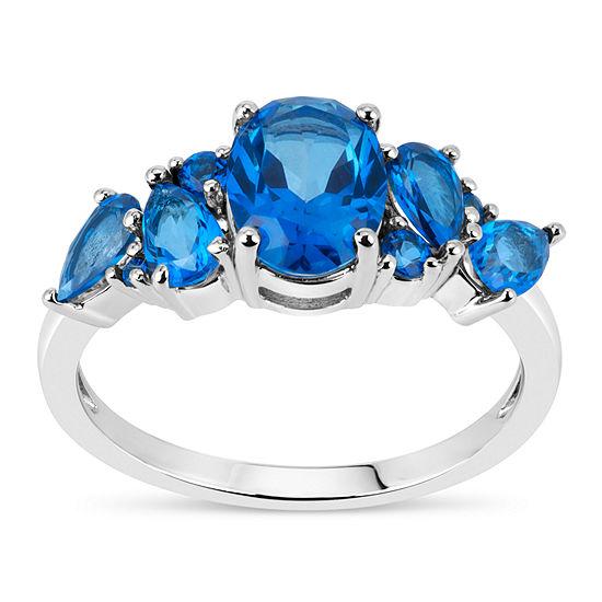 Sterling Silver Genuine Blue Topaz Ring featuring Swarovski Genuine Gemstones
