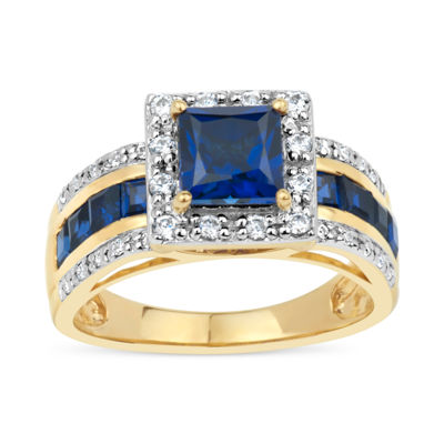 18K Gold over Silver Blue and White Genuine Topaz Ring featuring Swarovski Genuine Gemstones