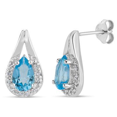 Sterling Silver Blue and White Genuine Topaz Stud Earrings featuring Swarovski Genuine Gemstones