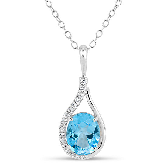 Sterling Silver Blue and White Genuine Topaz Pendant Necklace featuring Swarovski Genuine Gemstones