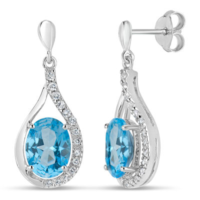 Sterling Silver Blue and White Genuine Topaz Stud Earrings featuring Swarovski Genuine Gemstones